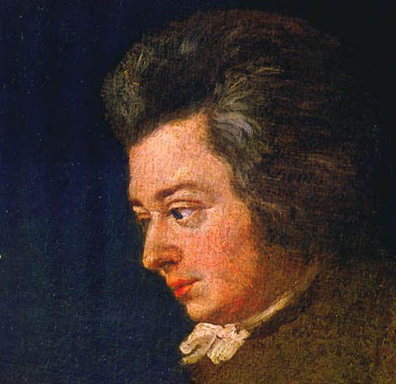 Mozart da adulto con lo sguardo rivolto a sinistra