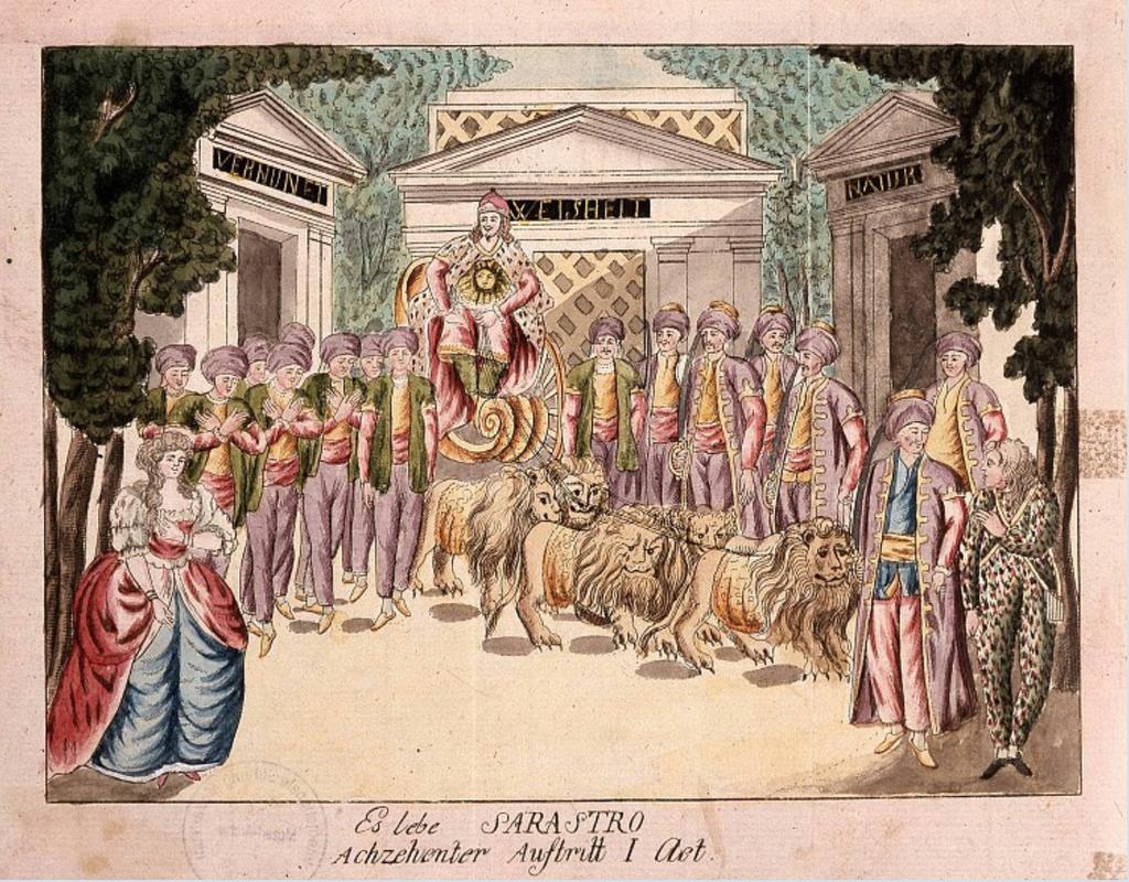 Scenografia per una produzione del Flauto magico di Mozart in Brno nel 1793. Si vede l'arrivo trionfale di Sarastro su un carro trainato da leoni